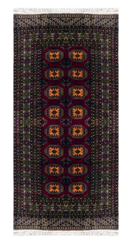 "PAKISTANI TRADITIONAL HAND-KNOTTED RUG MADE WITH NATURAL WOOL & COTTON COLOR MULTI 6'4"" X 4'1"" ABC 10"