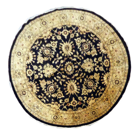 "PAKISTANI TRADITIONAL HAND-KNOTTED RUG MADE WITH NATURAL WOOL & COTTON COLOR BLACK/GOLD 8'11"" X 8'10"" ABC 7"