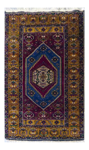"PERSIAN TURKMAN HAND-KNOTTED RUG MADE WITH NATURAL WOOL 7'3'' X 3'9"" ABC"