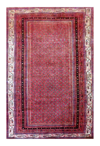 "PERSIAN SAVEH HAND-KNOTTED RUG MADE WITH NATURAL WOOL AND COTTON 9'2'' X 5'4"" ABC114"