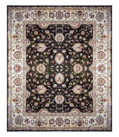 PAKISTANI PESHAWAR HAND-KNOTTED RUG MADE WITH NATURAL WOOL & COTTON  8'8'' X 7'7'' ABC0