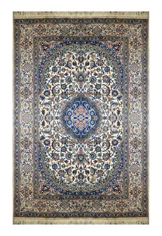 "PERSIAN NAIN HAND-KNOTTED RUG MADE WITH NATURAL WOOL & SILK 11'5"" X 8'0"" ABC2789"