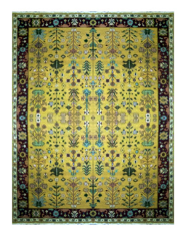 Turkish Hand-Knotted 100% Natural Wool Sumak Rug 13'10'' X 9'10'' ABC