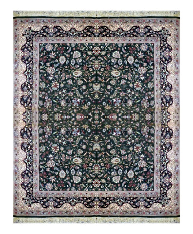 INDIAN KASHMIRI TRADITIONAL HAND-KNOTTED RUG MADE WITH NATURAL WOOL 11'5'' X 8'0'' ABC