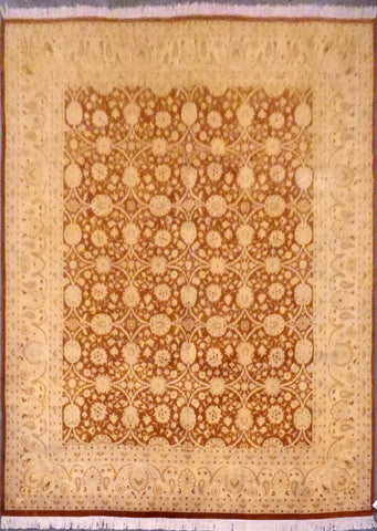 Authentic Pakistani Tabriz design Hand-Knotted Natural Wool Rug 7'11'' X 10'0'' ABC0021897