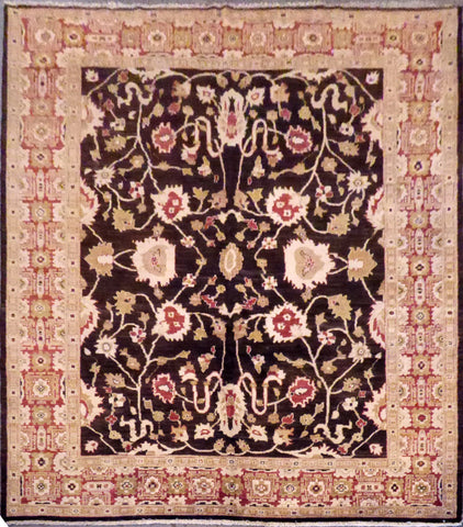 Authentic Pakistani Oushak design Hand-Knotted Natural Wool Rug 9'10'' X 8'0'' ABC0020398
