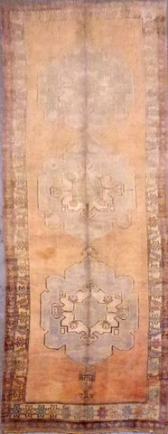 Turkish Antique Hand-Knotted 100% Natural Wool Rug 12'4'' X 4'8'' ABCR021274