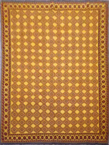 Turkish Hand-Knotted 100% Natural Wool Sumak Rug 9'4'' X 7'1'' ABCR21940