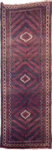 AFGHANI BALOUCH HAND-KNOTTED RUG MADE WITH NATURAL WOOL AND COTTON 8'8'' X 3'10''  ABC80066