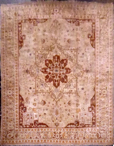 "TURKISH OUSHAK HAND-KNOTTED RUG MADE WITH NATURAL WOOL & COTTON 10'10'' X 12'9"" ABC157995"