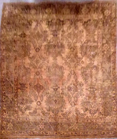 "TURKISH OUSHAK HAND-KNOTTED RUG MADE WITH NATURAL WOOL & COTTON 13'9'' X 11'7"" ABC134563"