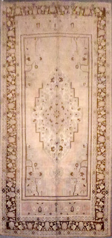 "TURKISH OUSHAK HAND-KNOTTED RUG MADE WITH NATURAL WOOL & COTTON 12'9'' X 6'11"" ABC166547"