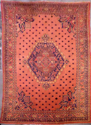 "TURKISH OUSHAK HAND-KNOTTED RUG MADE WITH NATURAL WOOL & COTTON 10'6'' X 14'6"" ABC0021422"