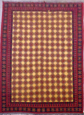 AFGHANI SUMAK HAND-KNOTTED RUG MADE WITH NATURAL WOOL AND COTTON 11'10'' X 8'11''  ABC1110