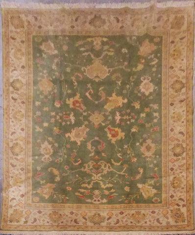"TURKISH OUSHAK HAND-KNOTTED RUG MADE WITH NATURAL WOOL & COTTON 11'7'' X 9'1"" ABC0020782"