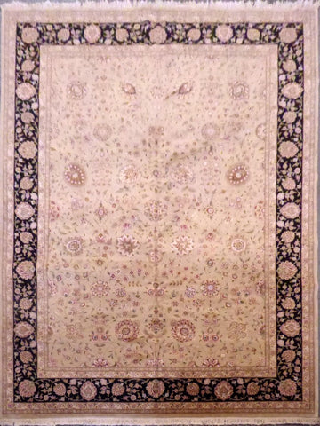 "INDIAN KASHMIRI HAND-KNOTTED RUG MADE WITH NATURAL WOOL & SILK 12'0"" X 9'0'' ABC12018"