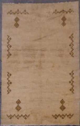 "INDIAN GABBEH HAND-KNOTTED RUG MADE WITH NATURAL WOOL 9'4"" X 6'5"" ABC0813818"
