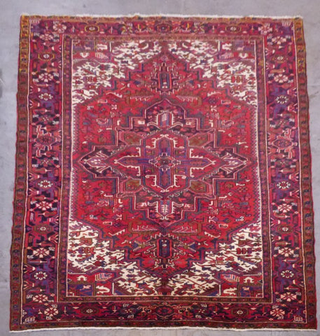 "PERSIAN HERIZ HAND-KNOTTED RUG MADE WITH NATURAL WOOL & COTTON 10'9'' X 7'4"" ABCR02346"