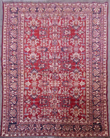 "PERSIAN TURKMAN HAND-KNOTTED RUG MADE WITH NATURAL WOOL & COTTON 7'6'' X 11'5"" ABCR00032"