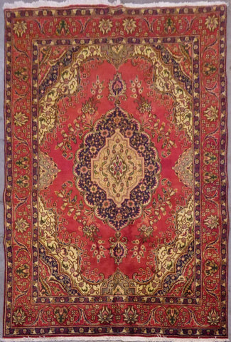 "PERSIAN TABRIZ HAND-KNOTTED RUG MADE WITH NATURAL WOOL & COTTON 9'8'' X 6'3"" ABC14"