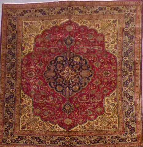 "PERSIAN TABRIZ HAND-KNOTTED RUG MADE WITH NATURAL WOOL & COTTON 11'3'' X 8'2"" ABC42"
