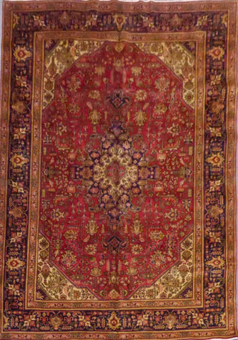 "PERSIAN TABRIZ HAND-KNOTTED RUG MADE WITH NATURAL WOOL & COTTON 9'8'' X 6'7"" ABC33"