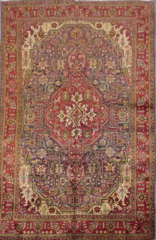 "PERSIAN TABRIZ HAND-KNOTTED RUG MADE WITH NATURAL WOOL & COTTON 9'10'' X 6'4"" ABC12"