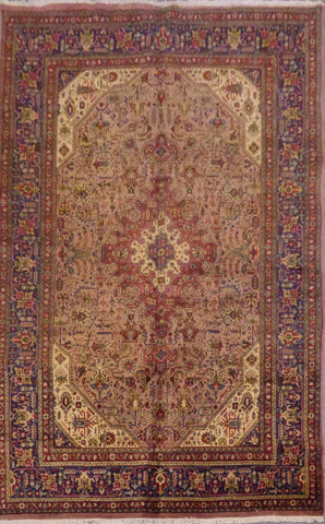 "PERSIAN TABRIZ HAND-KNOTTED RUG MADE WITH NATURAL WOOL & COTTON 10'5'' X 8'8"" ABC13"