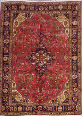 "PERSIAN TABRIZ HAND-KNOTTED RUG MADE WITH NATURAL WOOL & COTTON 6'10'' X 9'11"" ABC11"
