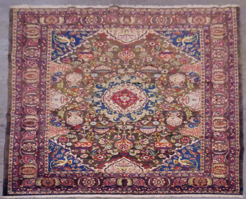 "PERSIAN MASHAD HAND-KNOTTED RUG MADE WITH NATURAL WOOL & COTTON 9'10'' X 6'6"" ABCR02100"