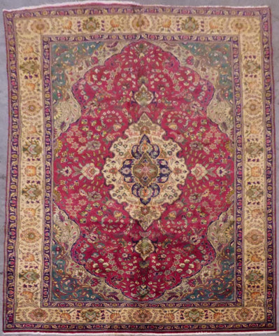 "PERSIAN TABRIZ HAND-KNOTTED RUG MADE WITH NATURAL WOOL & COTTON 10'0'' X 6'6"" ABC18"