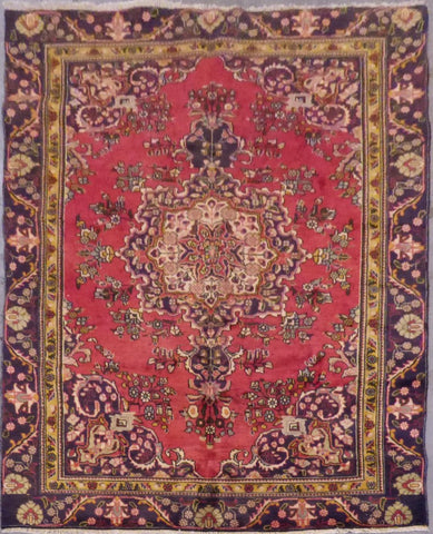 "PERSIAN TABRIZ HAND-KNOTTED RUG MADE WITH NATURAL WOOL & COTTON 9'2'' X 6'1"" ABC58"
