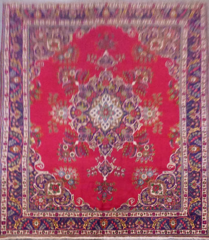 "PERSIAN HAND-KNOTTED RUG MADE WITH NATURAL WOOL & COTTON 12'9'' X 9'9"" ABCR01252"