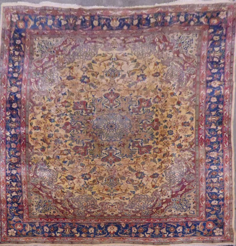 "PERSIAN MASHAD HAND-KNOTTED RUG MADE WITH NATURAL WOOL & COTTON 11'0'' X 9'7"" ABC325"