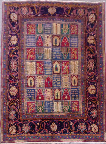 "PERSIAN BAKHTIAR HAND-KNOTTED RUG MADE WITH NATURAL WOOL & COTTON 10'4'' X 7'1"" ABCR02680"