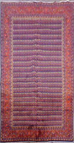 "PERSIAN MUSEEL HAND-KNOTTED RUG MADE WITH NATURAL WOOL & COTTON 10'9'' X 7'0"" ABCR02482"