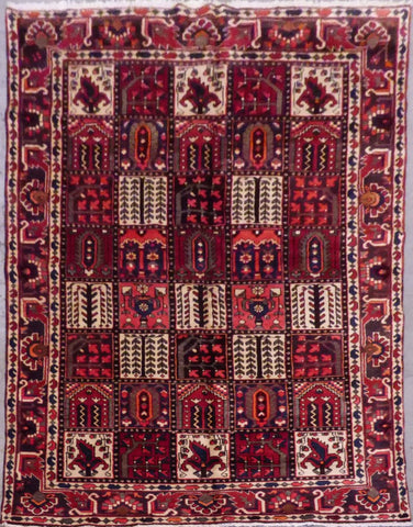 "PERSIAN BAKHTIAR HAND-KNOTTED RUG MADE WITH NATURAL WOOL & COTTON 10'1'' X 6'4"" ABCR02517"
