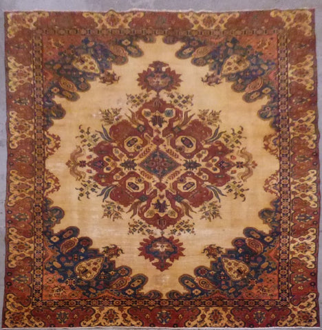 "PERSIAN TABRIZ HAND-KNOTTED RUG MADE WITH NATURAL WOOL & COTTON 11'4'' X 8'7"" ABC218"