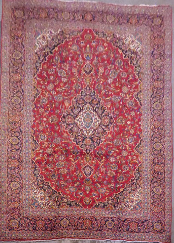 "PERSIAN KASHAN HAND-KNOTTED RUG MADE WITH NATURAL WOOL & COTTON 13'3'' X 9'10"" ABC548"