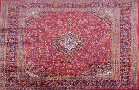 "PERSIAN KASHAN HAND-KNOTTED RUG MADE WITH NATURAL WOOL & COTTON 12'8'' X 9'8"" ABC392"
