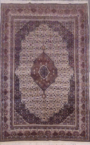 "INDIAN JAIPUR HAND-KNOTTED RUG MADE WITH NATURAL WOOL AND COTTON 11'0"" X 6'7"" ABCR03071"