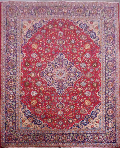 "PERSIAN KASHAN HAND-KNOTTED RUG MADE WITH NATURAL WOOL & COTTON 13'8'' X 8'5"" ABC549"