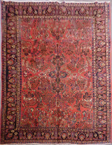 "PERSIAN SAROUGH HAND-KNOTTED RUG MADE WITH NATURAL WOOL & COTTON 8'8'' X 11'8"" ABC157775"