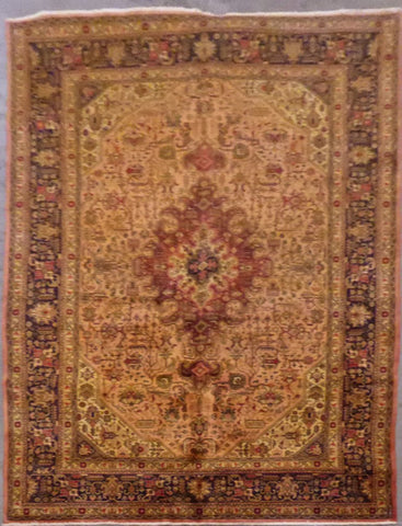 "PERSIAN TABRIZ HAND-KNOTTED RUG MADE WITH NATURAL WOOL & COTTON 9'10'' X 6'4"" ABC44"