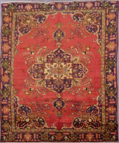 "PERSIAN HAMEDAN HAND-KNOTTED RUG MADE WITH NATURAL WOOL & COTTON 6'0'' X 9'4"" ABC8"