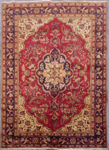 "PERSIAN MASHAD HAND-KNOTTED RUG MADE WITH NATURAL WOOL & COTTON 9'9'' X 6'7"" ABC46"
