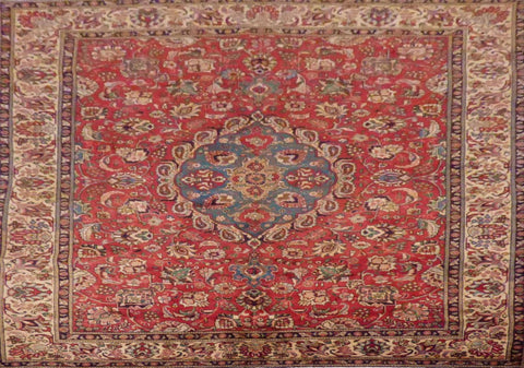 "PERSIAN TABRIZ HAND-KNOTTED RUG MADE WITH NATURAL WOOL & COTTON 11'4'' X 7'10"" ABC187"