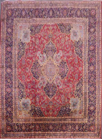 "PERSIAN KASHMAR HAND-KNOTTED RUG MADE WITH NATURAL WOOL & COTTON 12'4'' X 9'10"" ABC11"