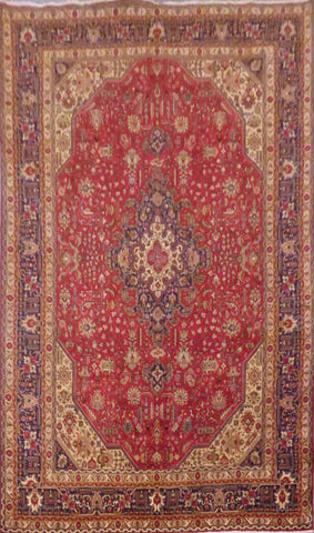 "PERSIAN TABRIZ HAND-KNOTTED RUG MADE WITH NATURAL WOOL & COTTON 11'4'' X 8'0"" ABC189"
