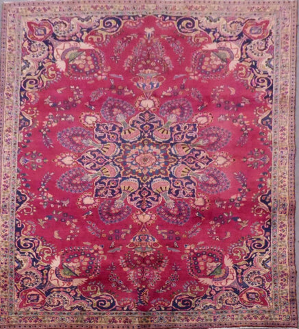 "PERSIAN MASHAD HAND-KNOTTED RUG MADE WITH NATURAL WOOL & COTTON 10'0'' X 7'3"" ABC142"